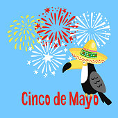 Mexican Cinco de Mayo greeting card, party invitation. Toucan bird with sombrero hat and hand drawn fireworks. Vector illustration