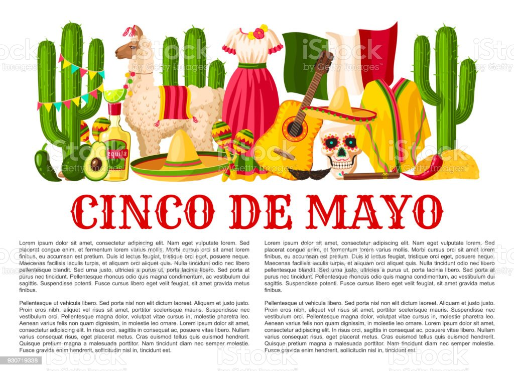 Mexican Cinco de Mayo holiday fiesta vector poster vector art illustration