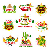 Cinco de Mayo Mexican holiday celebration icons. Vector set of Mexico Aztec pyramid, sombrero hat and skull with jalapeno chili pepper, guitar and tequila for party or greeting card design template