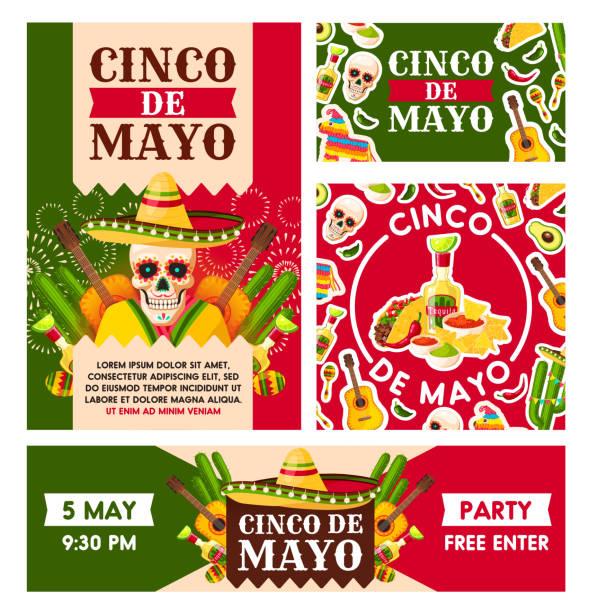 メキシコのシンコ ・ デ ・ マヨの休日ベクトル ポスター - メキシコ料理点のイラスト素材/クリップアート素材/マンガ素材/アイコン素材
