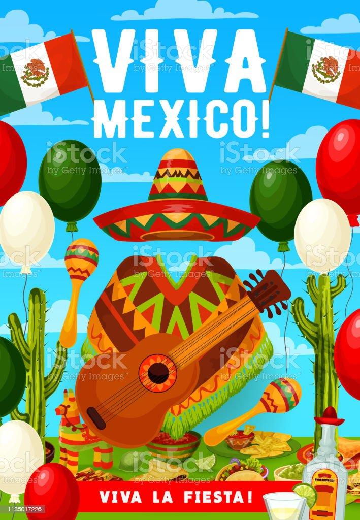 Mexican Cinco de Mayo sombrero, poncho and guitar vector art illustration