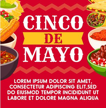 Mexican Cinco de Mayo vector celebration food