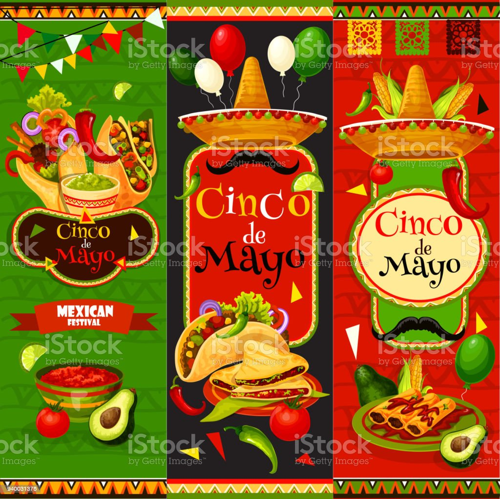 Mexican Cinco de Mayo vector fiesta banners vector art illustration