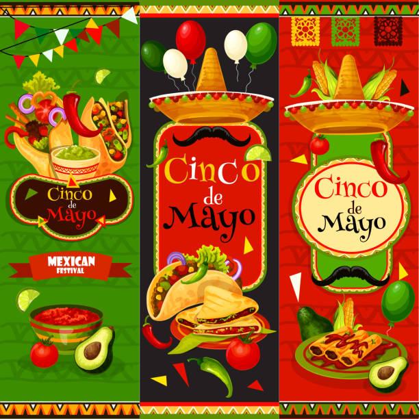 mexican cinco de mayo vector fiesta banners - cinco de may stock illustrations, clip art, cartoons, & icons