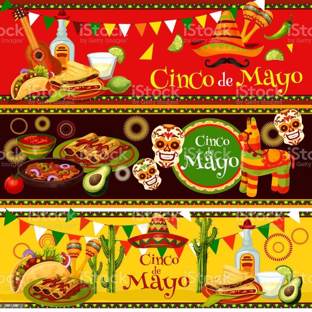 Mexican Cinco de Mayo vector fiesta food banners vector art illustration