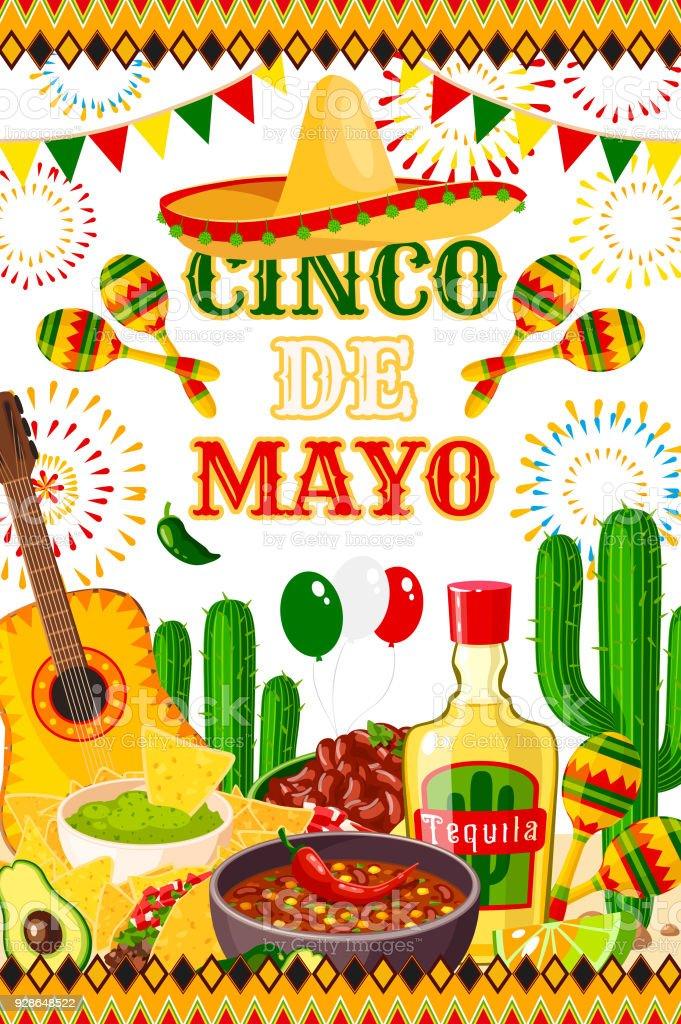 Mexican Cinco de Mayo vector fiesta poster vector art illustration
