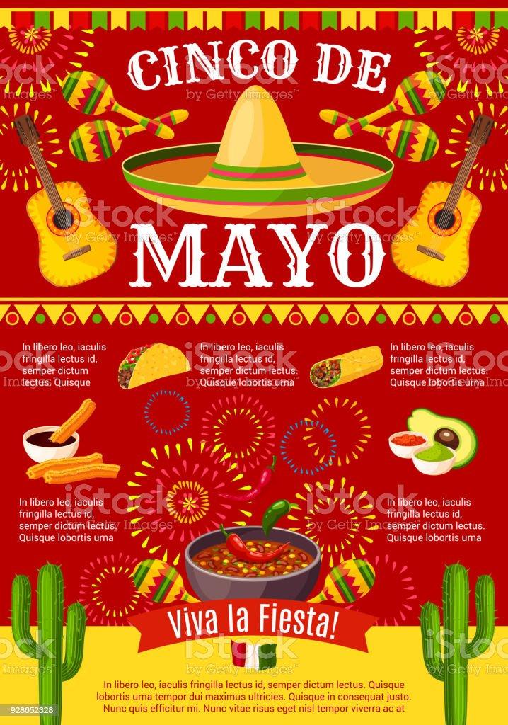 Mexican Cinco de Mayo vector holiday fiesta poster vector art illustration