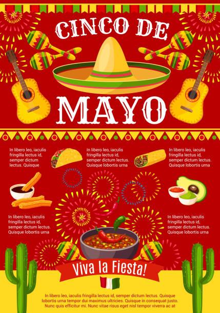 mexican cinco de mayo vector holiday fiesta poster - cinco de may stock illustrations, clip art, cartoons, & icons