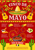 Cinco de Mayo Mexican greeting card poster for Mexico holiday celebration. Vector design of Mexican traditional food burrito or taco and avocado, cactus and tequila with sombrero for party fiesta