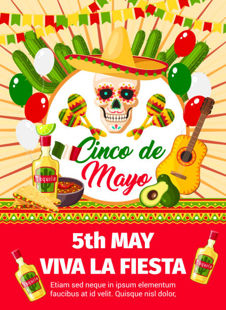 Mexican Cinco de Mayo vector invitation card Cinco de Mayo fiesta celebration or party invitation card of skull in sombrero and guitar. Vector design of Mexican jalapeno pepper, cactus or balloons flag and Cinco de Mayo holiday symbols avocado borders stock illustrations