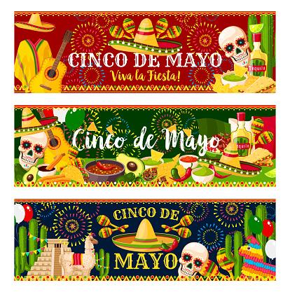 Mexican Cinco de Mayo vector party banners