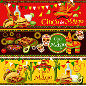 Cinco de Mayo fiesta celebration banners of tequila, jalapeno pepper or cactus and sombrero. Vector traditional penata, Cinco de Mayo Mexican holiday food burrito, tacos and avocado guacamole