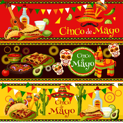 Mexican Cinco de Mayo vector party food banners