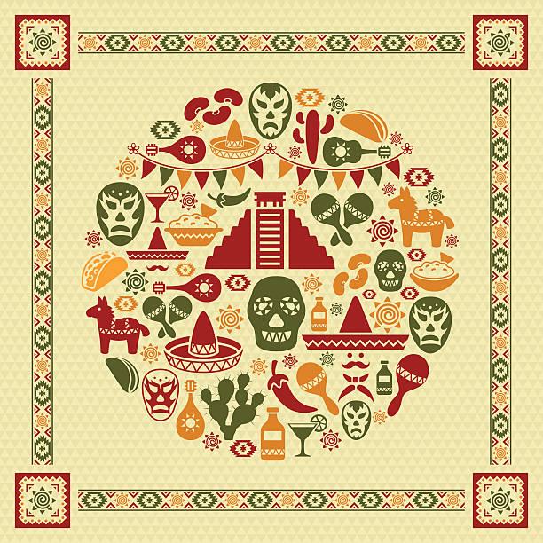 mexikanische collage - tortillas stock-grafiken, -clipart, -cartoons und -symbole