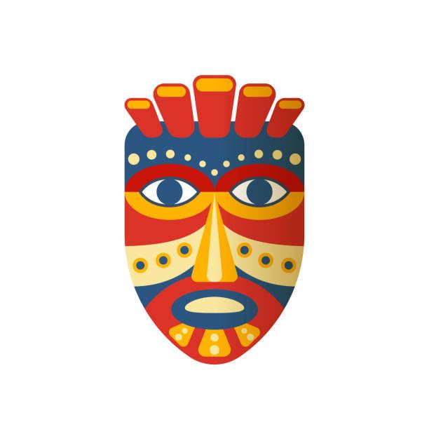 illustrazioni stock, clip art, cartoni animati e icone di tendenza di mexican colorful ethnic mask, clothes. carnival masquerade with mask aztec - totem fair