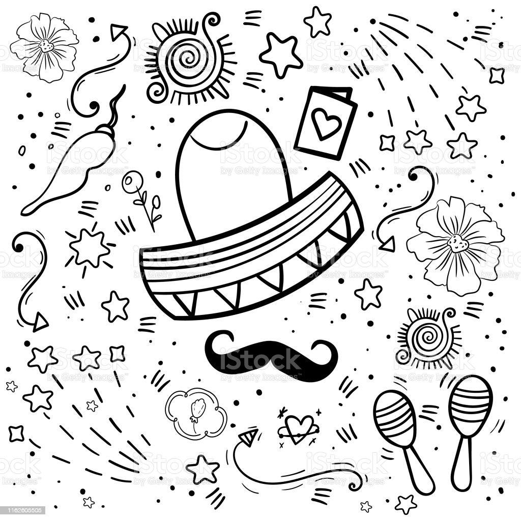 Ilustración De Elementos De Fiesta Para Colorear Mexicanos