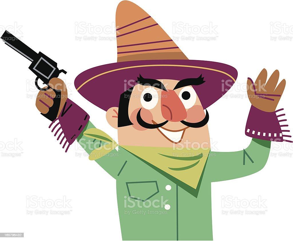 Mexican Cowboy vector art illustration