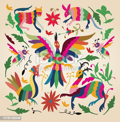 Crafts characteristic of a town called Tenango de Doria in the state of Hidalgo in Mexico, the theme of these paintings are colorful animals and plants embroidered on blanket.