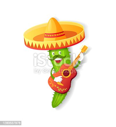 Fiesta or Cinco de Mayo festival, Mexican cactus in sombrero vector. Plant with mustache and guitar, Mexico symbol, mariachi and musical instrument