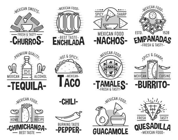 mexikanische küche und fast-food-ikonen - chimichanga stock-grafiken, -clipart, -cartoons und -symbole