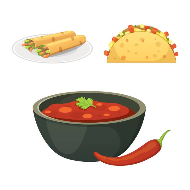 Mexican cuisine cartoon dishes illustration set Mexican cuisine cartoon dishes illustration set salsa sauce stock illustrations
