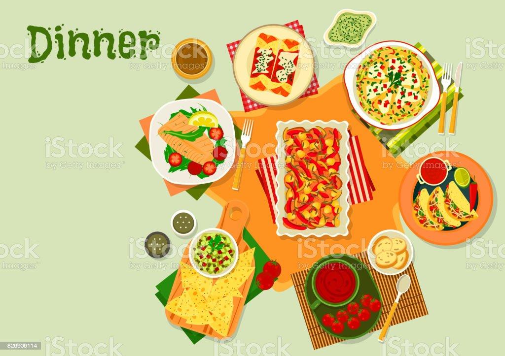 Mexikanische Küche Abendessen Gerichte Symbol Für Menüdesign Stock ...