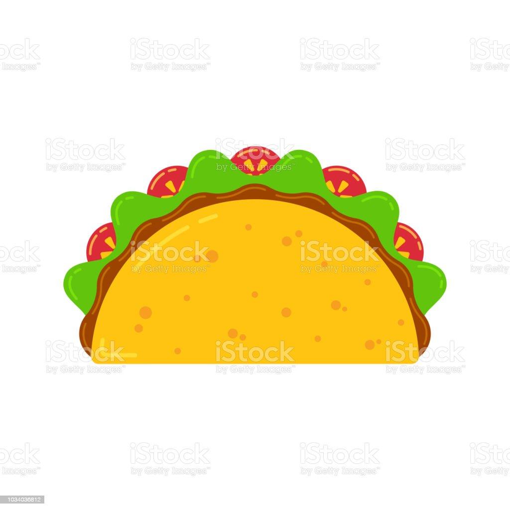 Mexikanische Kuche Fastfood Leckeren Taco Zeichnen Stock Vektor Art
