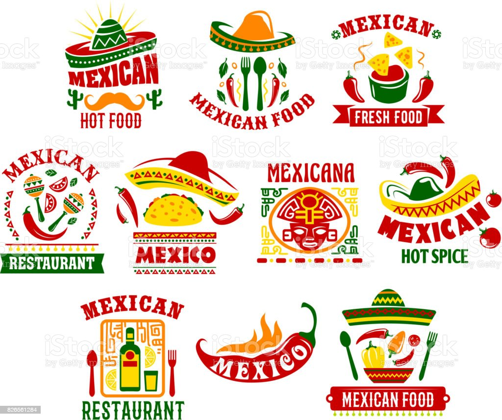 Mexican cuisine fast food restaurant sign design vector art illustration
