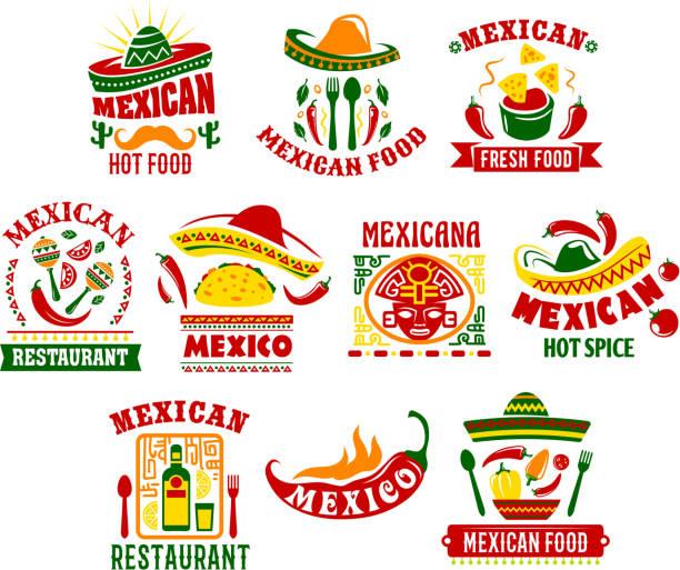 mexikanische küche fast-food restaurant schild design - chilli stock-grafiken, -clipart, -cartoons und -symbole