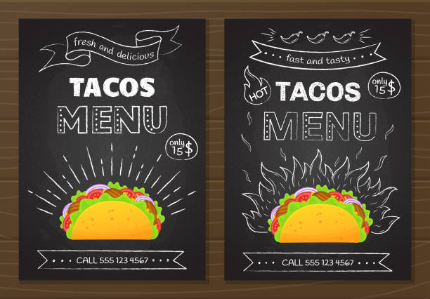 mexican cuisine fastfood tacos menu template - mexican food stock illustrations, clip art, cartoons, & icons