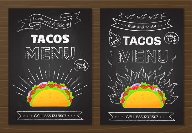 Modèle de menu de la cuisine mexicaine fastfood tacos - Illustration vectorielle
