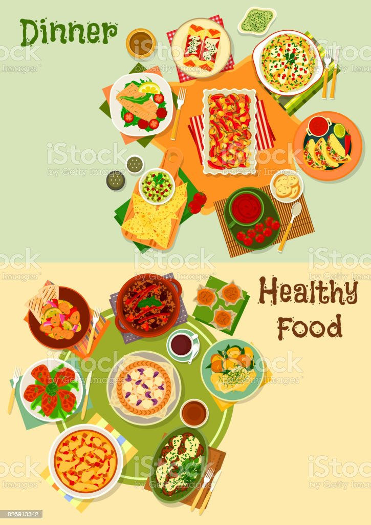 Mexican cuisine icon set for restaurant design vector art illustration