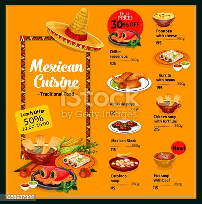 istock Mexican cuisine menu with lunch offer and prices 1058637322