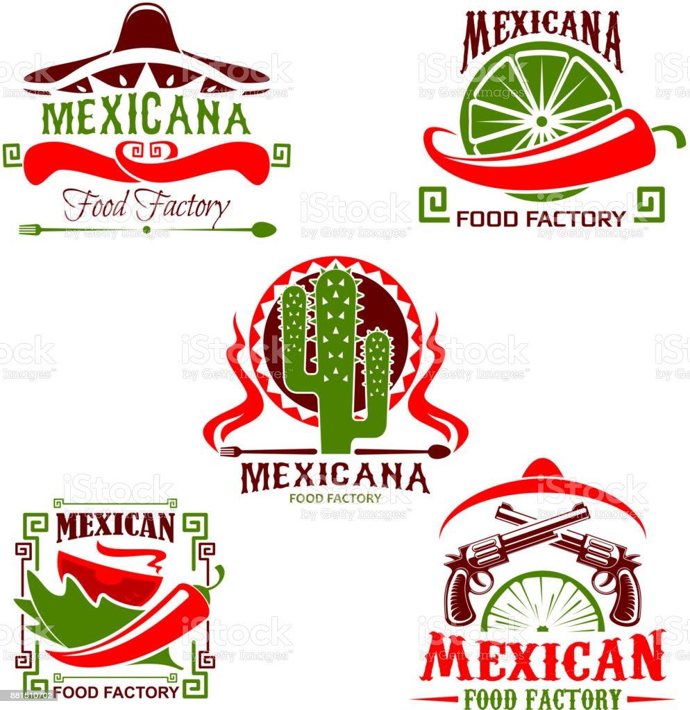 Icono de restaurante de cocina mexicana, comida rápida diseño - ilustración de arte vectorial