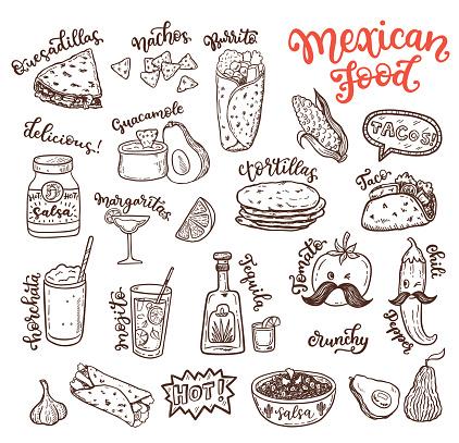Mexican cuisine, sketch doodle food set