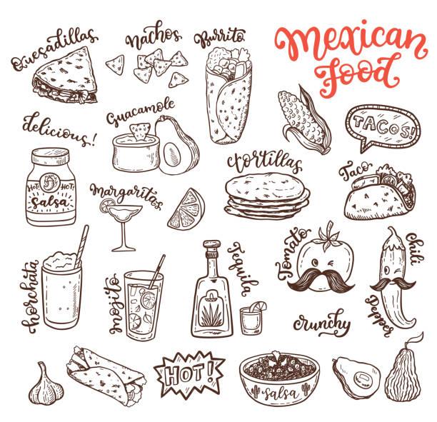ilustraciones, imágenes clip art, dibujos animados e iconos de stock de cocina mexicana, dibujo doodle comida juego - comida casera