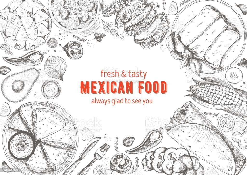 Mexican cuisine top view frame. A set of classic mexican dishes with nachos, fajita, burrito, corn. Food menu design template. Vintage hand drawn sketch vector illustration. Engraved image. vector art illustration