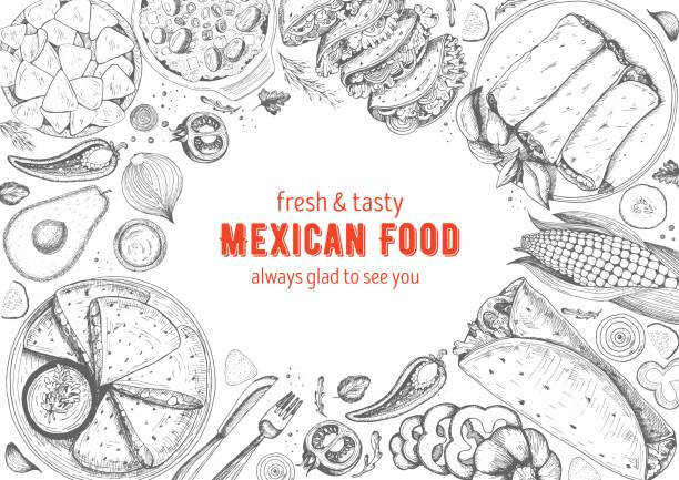 mexican cuisine top view frame. a set of classic mexican dishes with nachos, fajita, burrito, corn. food menu design template. vintage hand drawn sketch vector illustration. engraved image. - mexican food stock illustrations, clip art, cartoons, & icons