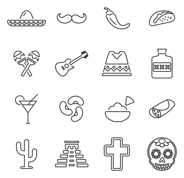 stockillustraties, clipart, cartoons en iconen met mexicaanse cultuur & erfgoed pictogrammen dunne lijn vector illustratie set - castagnetten