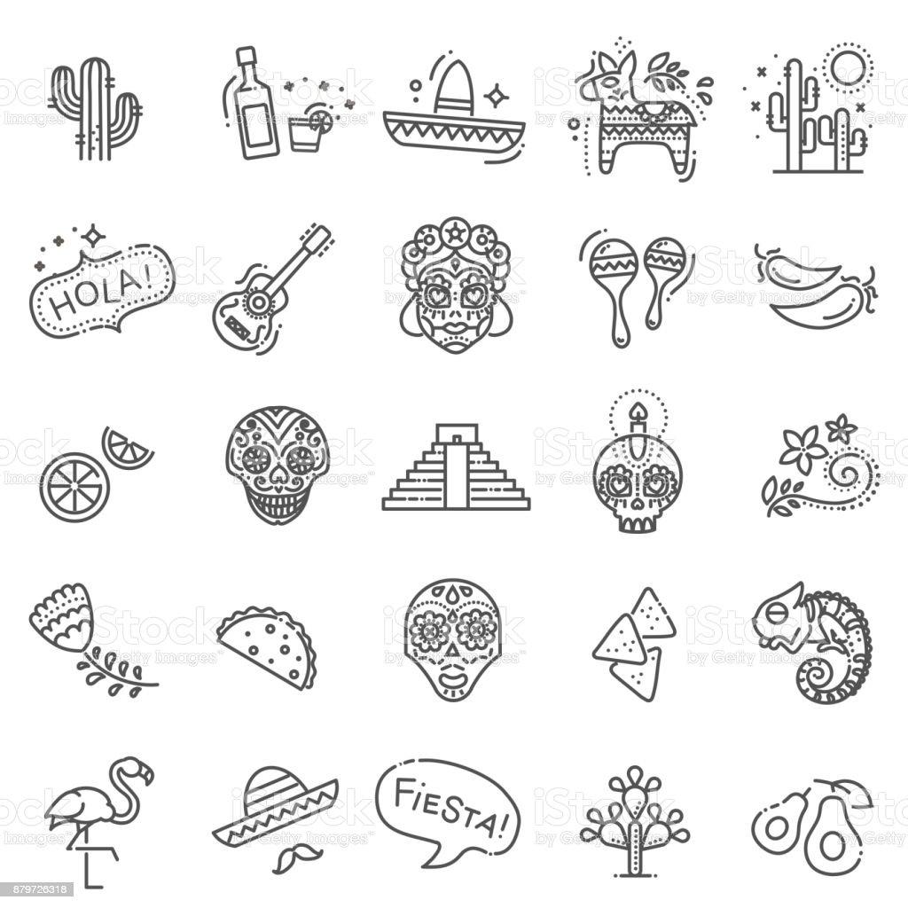 Mexikanska kulturen ikoner set. Dödas dag - Royaltyfri Alla helgons dag vektorgrafik