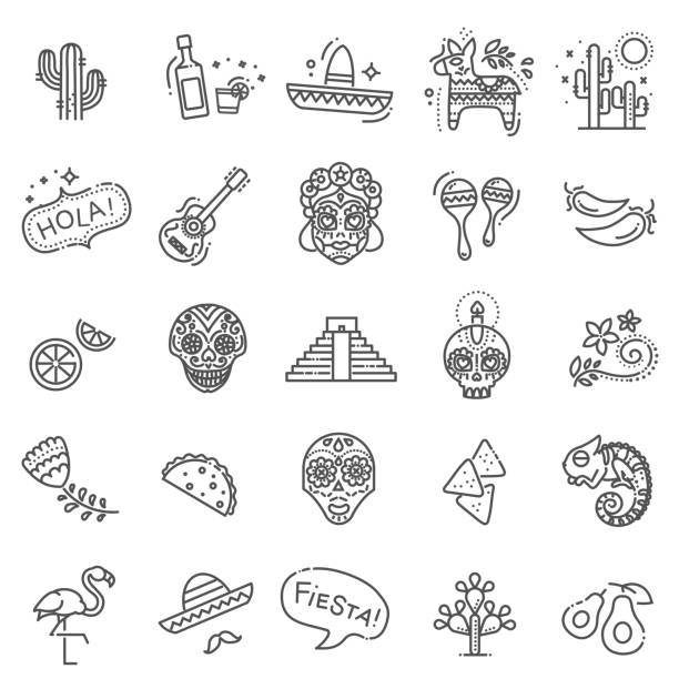 Mexican culture icons set. Day of the Dead vector art illustration