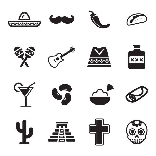 stockillustraties, clipart, cartoons en iconen met mexican culture icons - castagnetten