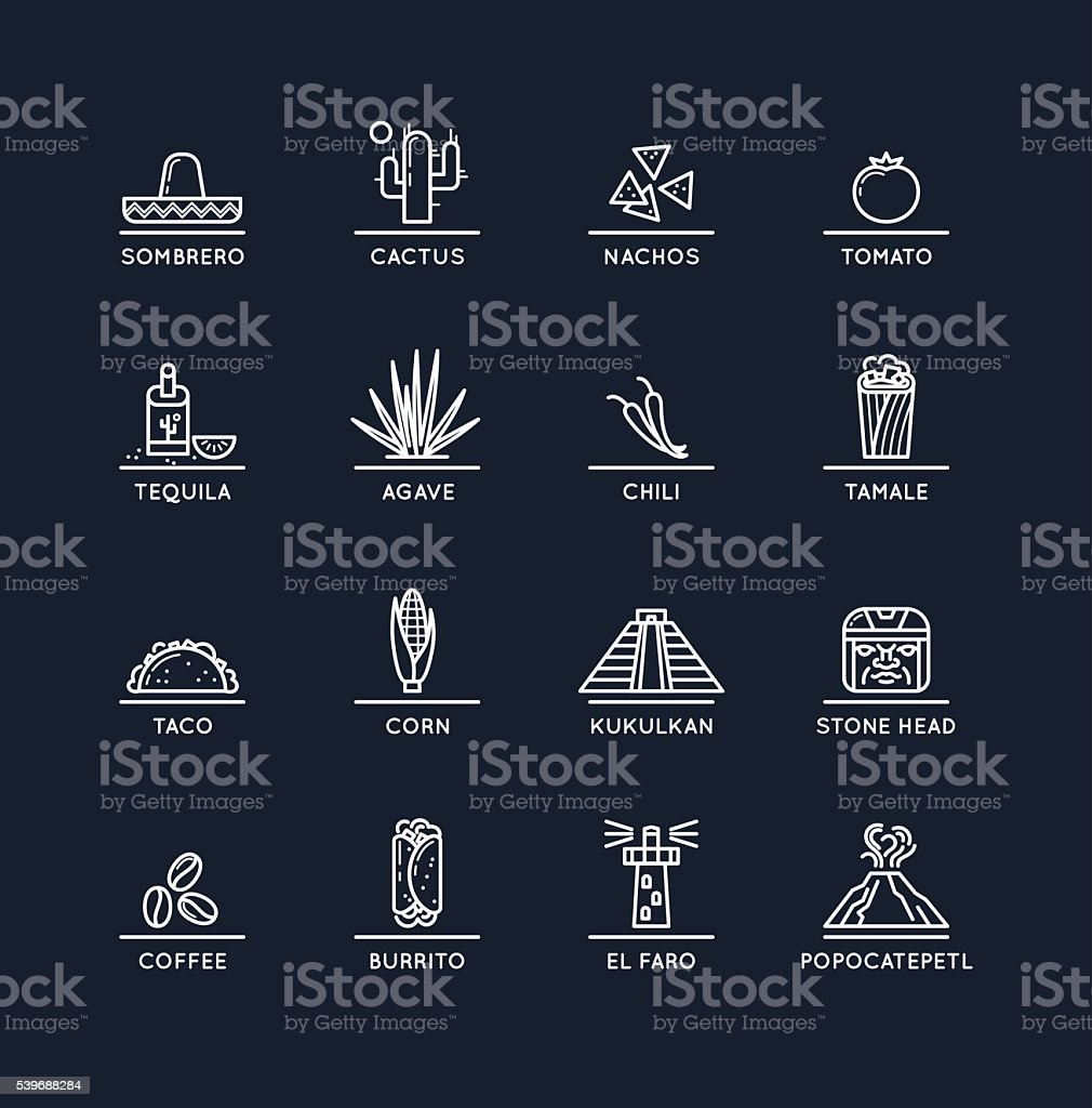 Mexican culture icons vector art illustration