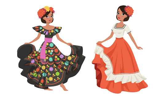Mexican Dancing Women in Traditional National Clothes Cartoon Vector Illustration