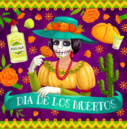 Mexican Day of Dead Catrina skeleton with flowers