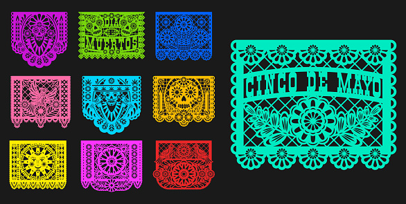 Mexican Day of Dead papel picado paper cut flags