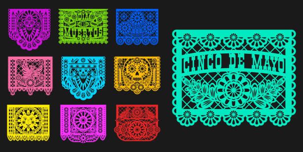 mexikanische tag der toten papel picado papier geschnitten flaggen - laservorlagen stock-grafiken, -clipart, -cartoons und -symbole