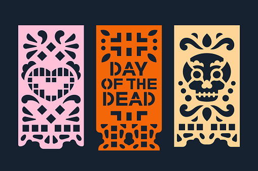 Mexican Day of the Dead banner paper cut