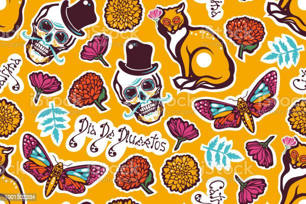 Mexican day of the dead dia de los muertos seamless pattern with a vector id1001302334?b=1&k=6&m=1001302334&s=612x612&h=ya1zqas4fmr vihvmkxd3g8qhzexezaohabwtv9cfzi=