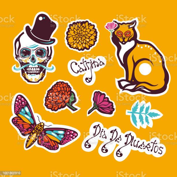 Mexican day of the dead dia de los muertos sticker with a human skull vector id1001302310?b=1&k=6&m=1001302310&s=612x612&h=3lqslxbqbuvh7lcafmkmohg6ugkzk smbwljbyygtuo=
